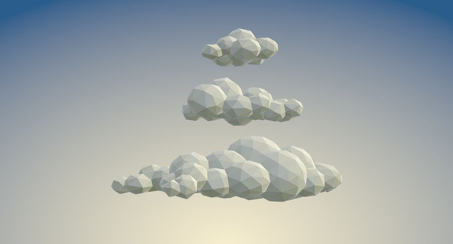Nuages Low Poly royalty-free 3d model - Preview no. 5
