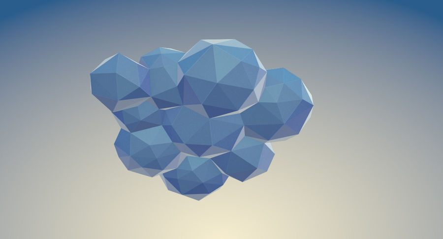 Nuages Low Poly royalty-free 3d model - Preview no. 21