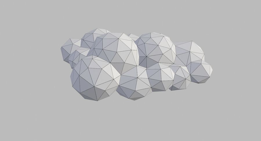 Nuages Low Poly royalty-free 3d model - Preview no. 28
