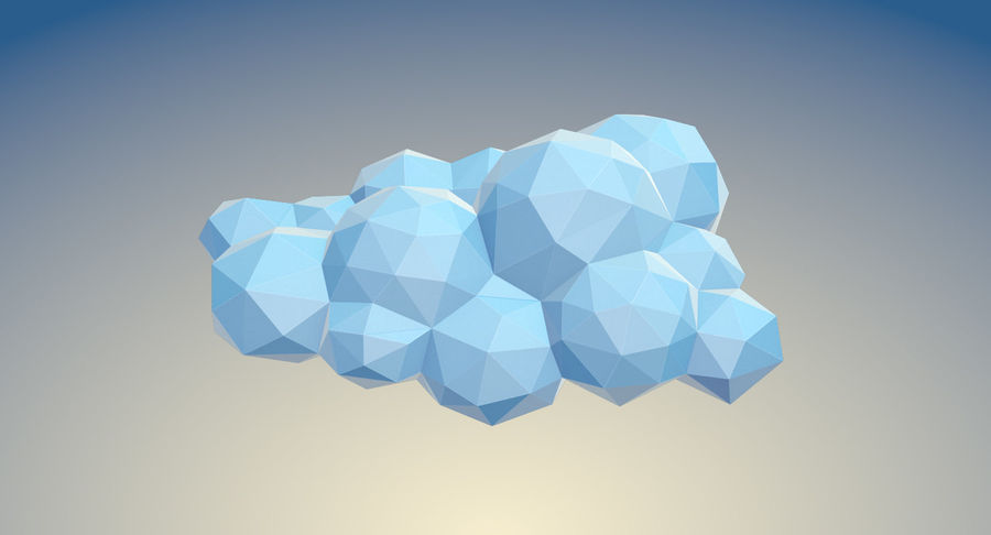 Nuages Low Poly royalty-free 3d model - Preview no. 14