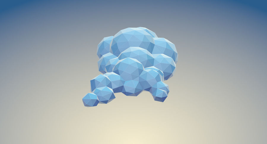 Nuages Low Poly royalty-free 3d model - Preview no. 7