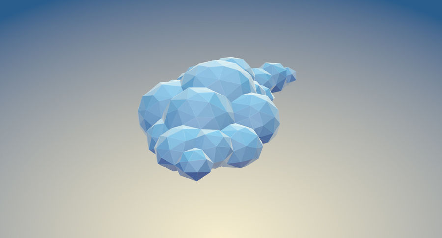 Nuages Low Poly royalty-free 3d model - Preview no. 9