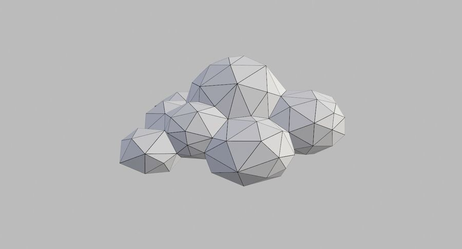 Nuages Low Poly royalty-free 3d model - Preview no. 34