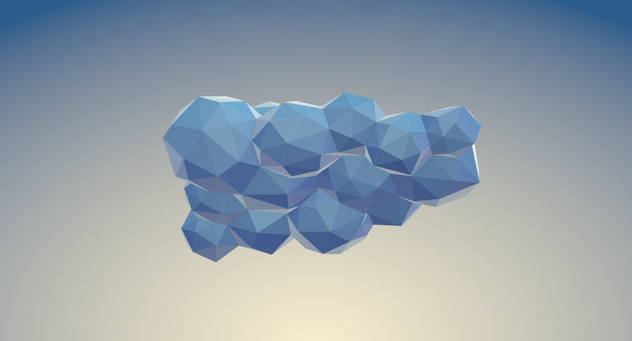 Nuages Low Poly royalty-free 3d model - Preview no. 16