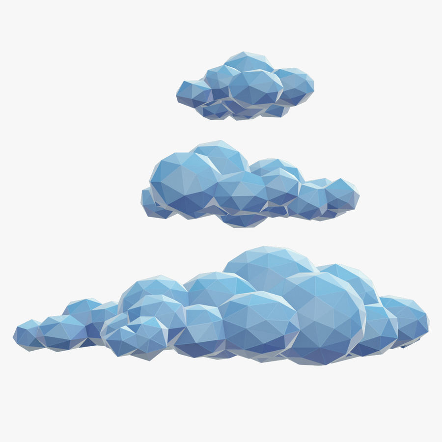 Nuages Low Poly royalty-free 3d model - Preview no. 1