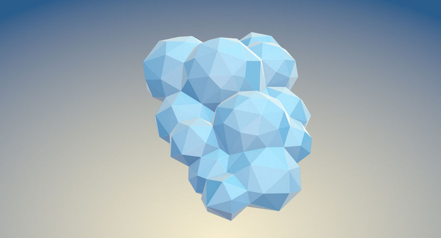 Nuages Low Poly royalty-free 3d model - Preview no. 15