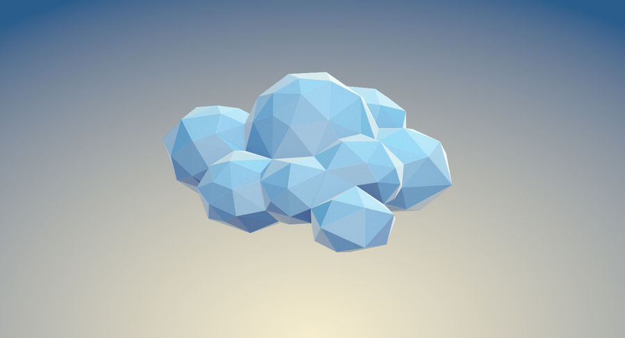 Nuages Low Poly royalty-free 3d model - Preview no. 18