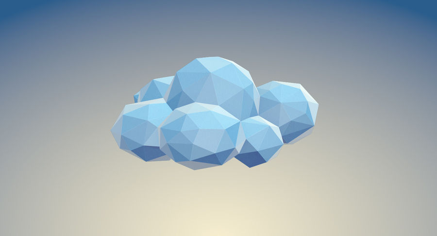Nuages Low Poly royalty-free 3d model - Preview no. 20