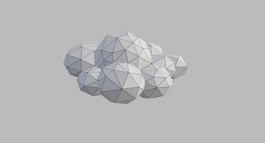 Nuages Low Poly royalty-free 3d model - Preview no. 36