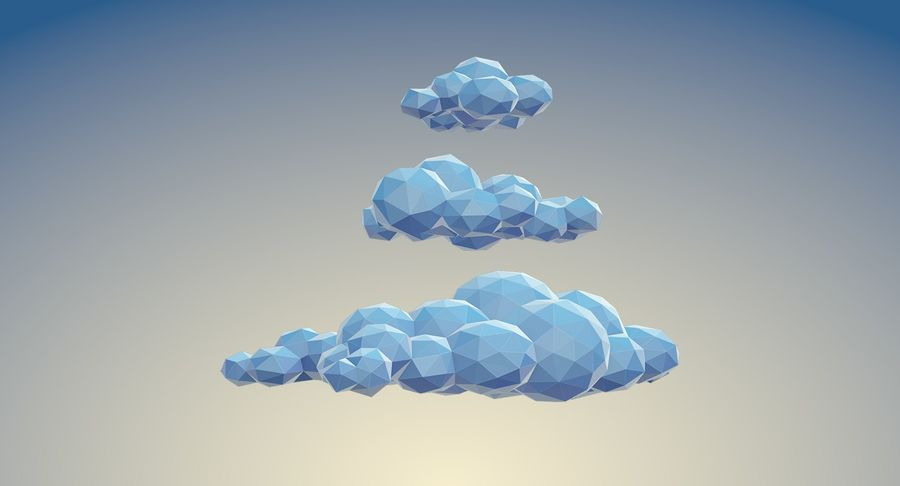 Nuages Low Poly royalty-free 3d model - Preview no. 3