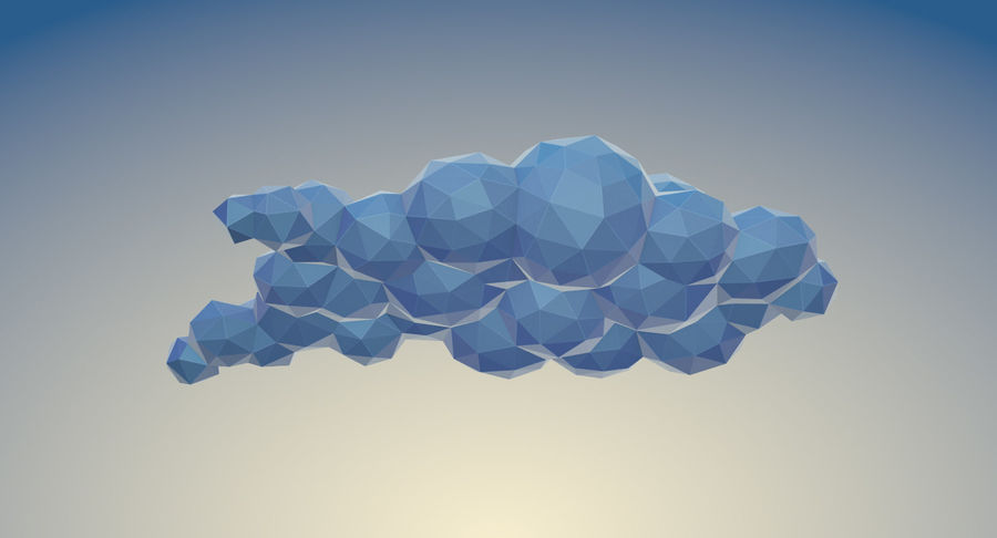 Nuages Low Poly royalty-free 3d model - Preview no. 11