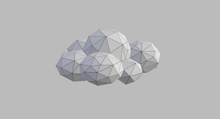 Nuages Low Poly royalty-free 3d model - Preview no. 37