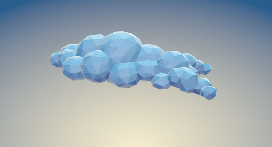Nuages Low Poly royalty-free 3d model - Preview no. 8