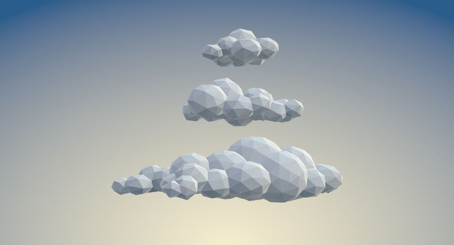 Nuages Low Poly royalty-free 3d model - Preview no. 4