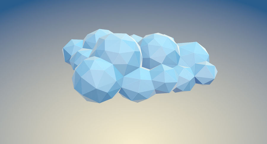 Nuages Low Poly royalty-free 3d model - Preview no. 12