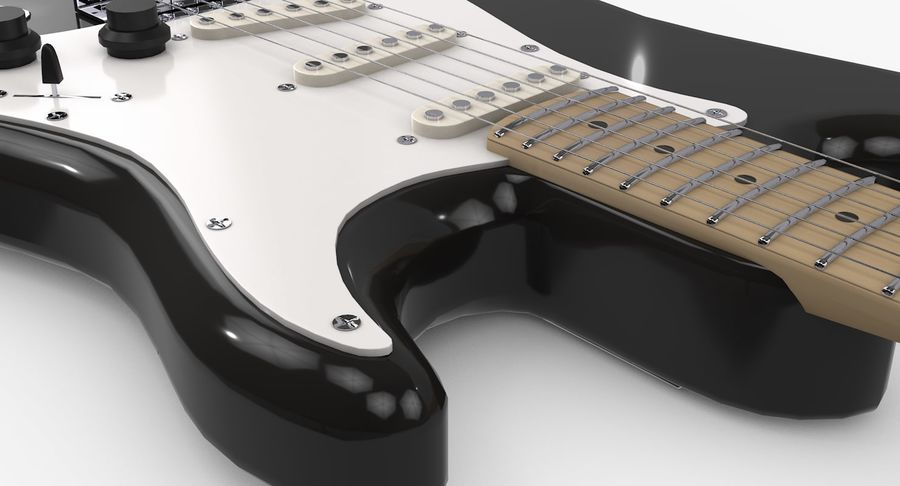 Gitarre - Fender Stratocaster royalty-free 3d model - Preview no. 8