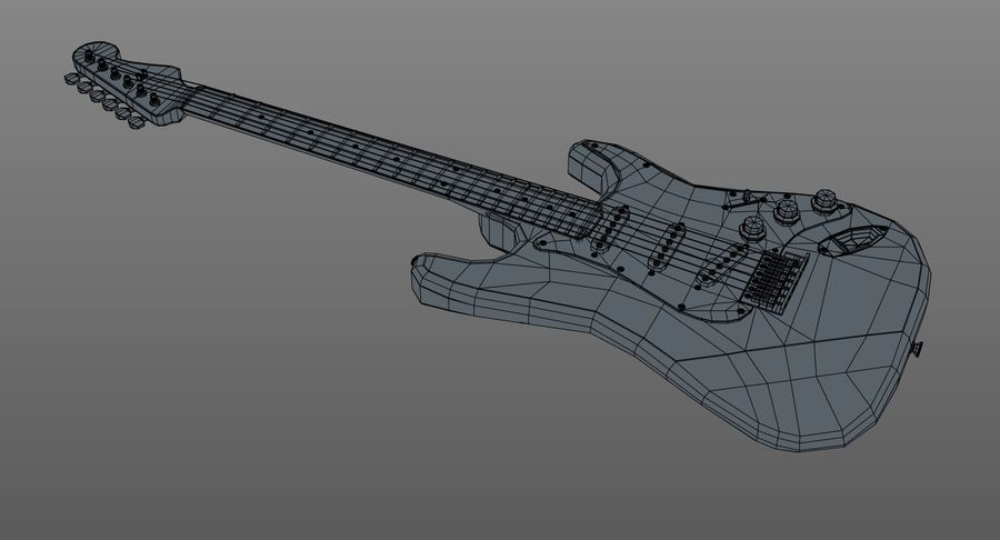 Gitarre - Fender Stratocaster royalty-free 3d model - Preview no. 13