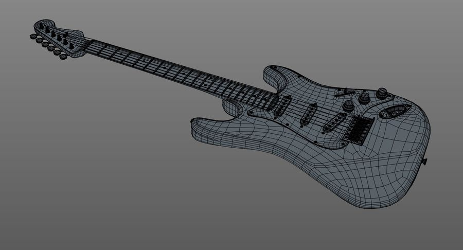 Gitarre - Fender Stratocaster royalty-free 3d model - Preview no. 20