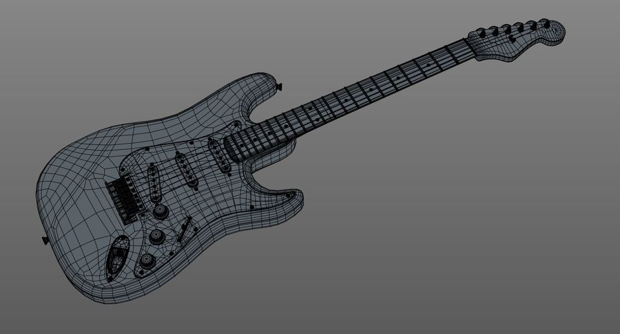 Gitarre - Fender Stratocaster royalty-free 3d model - Preview no. 19