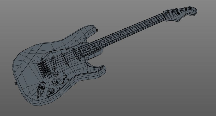 Gitarre - Fender Stratocaster royalty-free 3d model - Preview no. 12