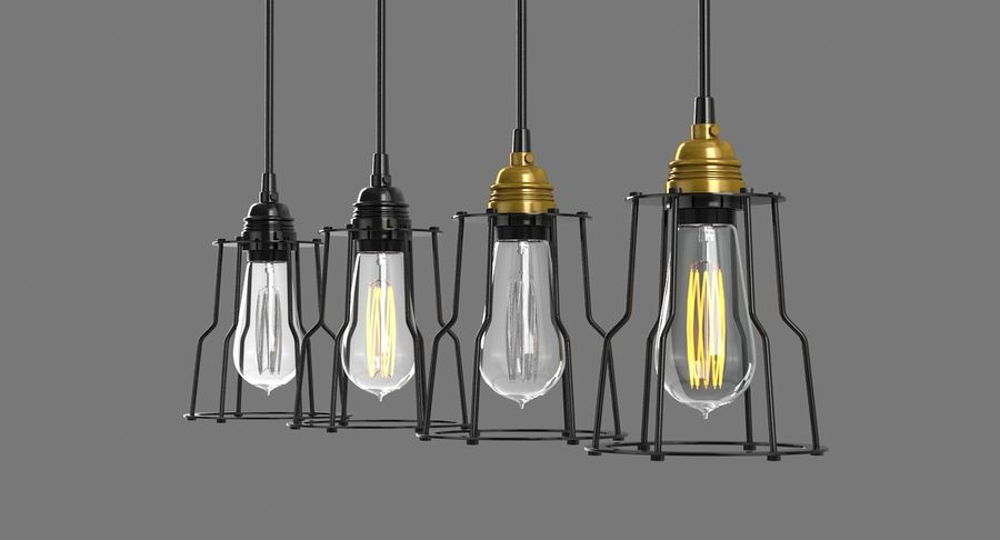 Vintage Light bulbs royalty-free 3d model - Preview no. 8