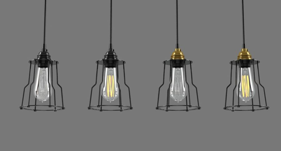 Vintage Light bulbs royalty-free 3d model - Preview no. 3