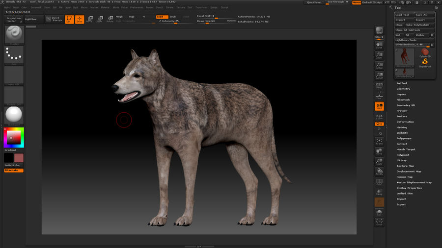Wolf royalty-free 3d model - Preview no. 21