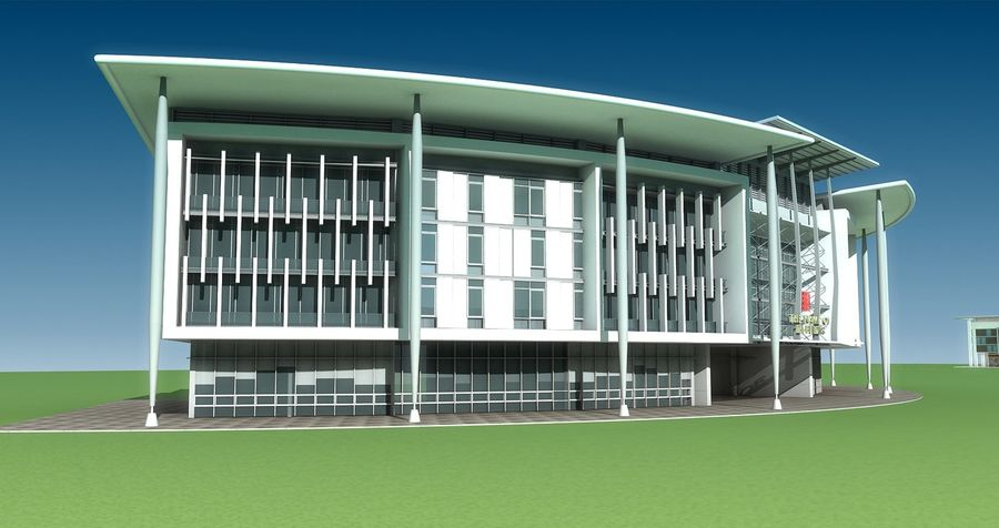 architecture bâtiment moderne 001 royalty-free 3d model - Preview no. 2