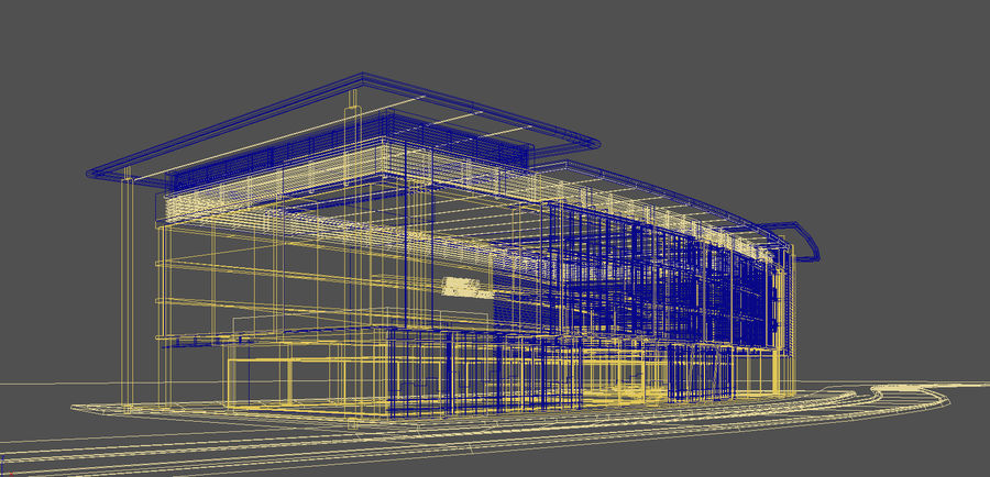 architecture bâtiment moderne 001 royalty-free 3d model - Preview no. 7