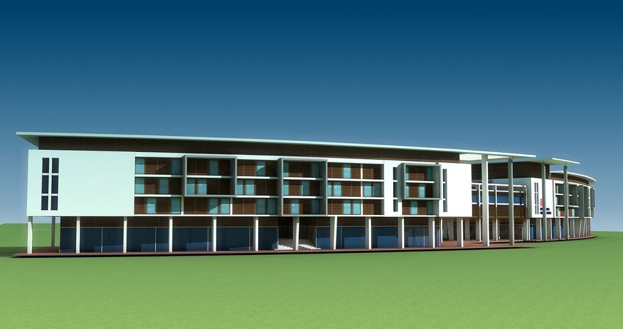 architecture bâtiment moderne 001 royalty-free 3d model - Preview no. 4