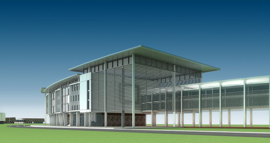 architecture bâtiment moderne 001 royalty-free 3d model - Preview no. 1