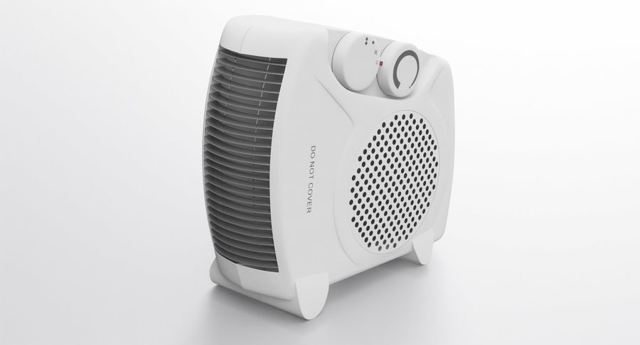 Electric Fan Heater royalty-free 3d model - Preview no. 3