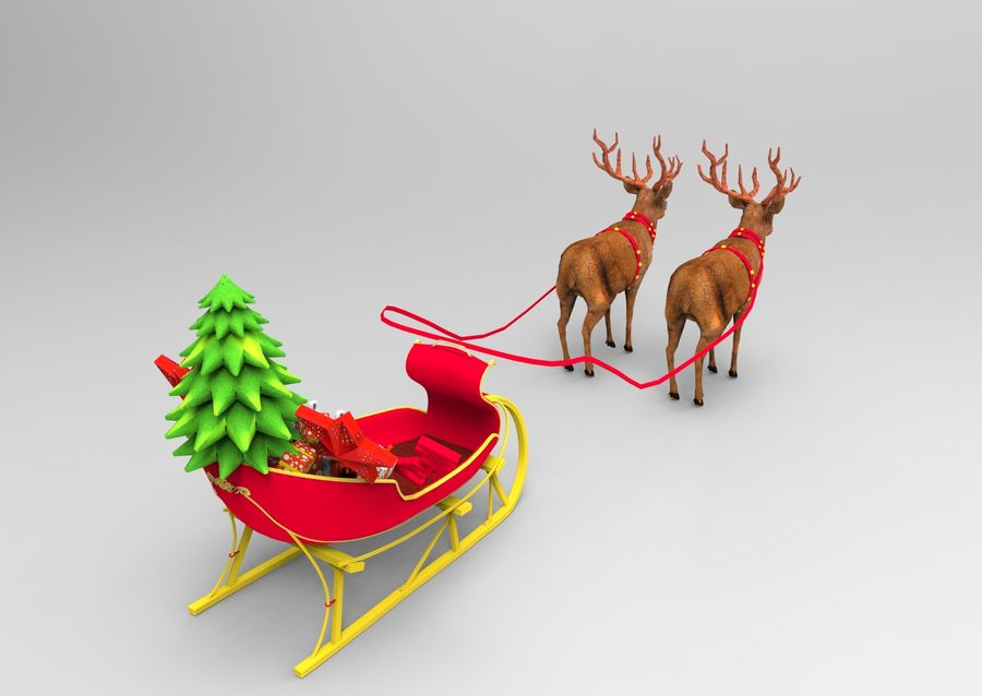 santa Deer Sleigh royalty-free 3d model - Preview no. 9