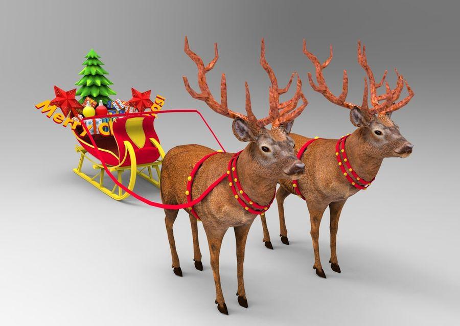 santa Deer Sleigh royalty-free 3d model - Preview no. 11