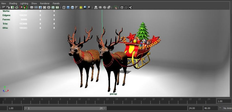 santa Deer Sleigh royalty-free 3d model - Preview no. 17