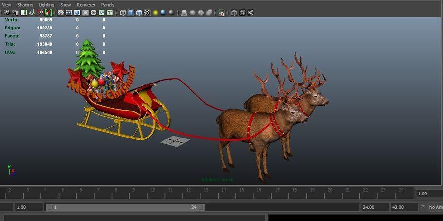 santa Deer Sleigh royalty-free 3d model - Preview no. 18