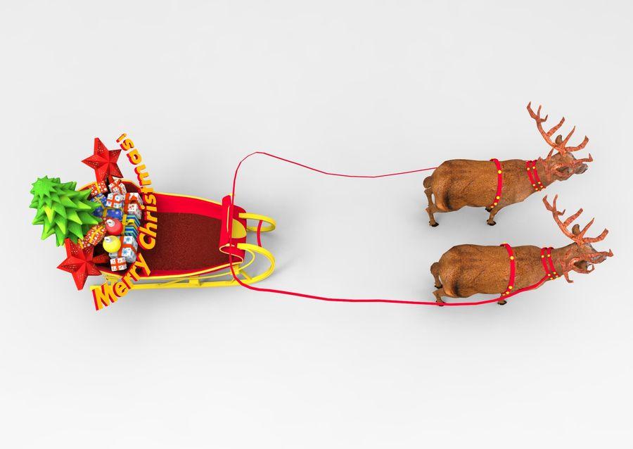 santa Deer Sleigh royalty-free 3d model - Preview no. 10