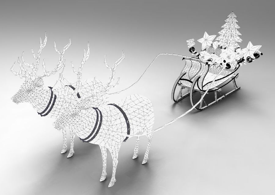 santa Deer Sleigh royalty-free 3d model - Preview no. 13
