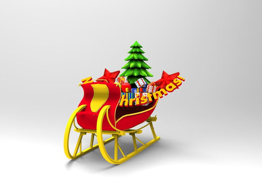 santa Deer Sleigh royalty-free 3d model - Preview no. 3