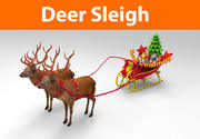 Santa Deer Sleigh 3d model