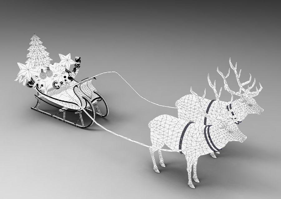 santa Deer Sleigh royalty-free 3d model - Preview no. 15