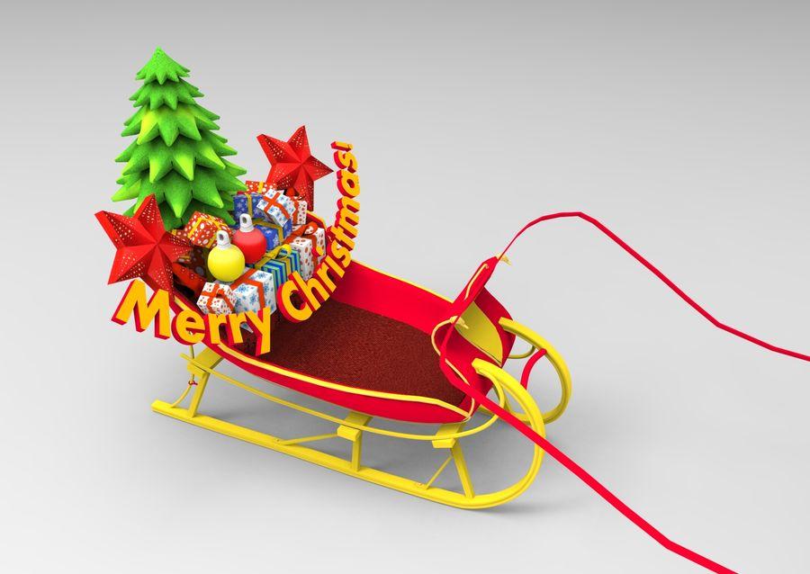 santa Deer Sleigh royalty-free 3d model - Preview no. 12
