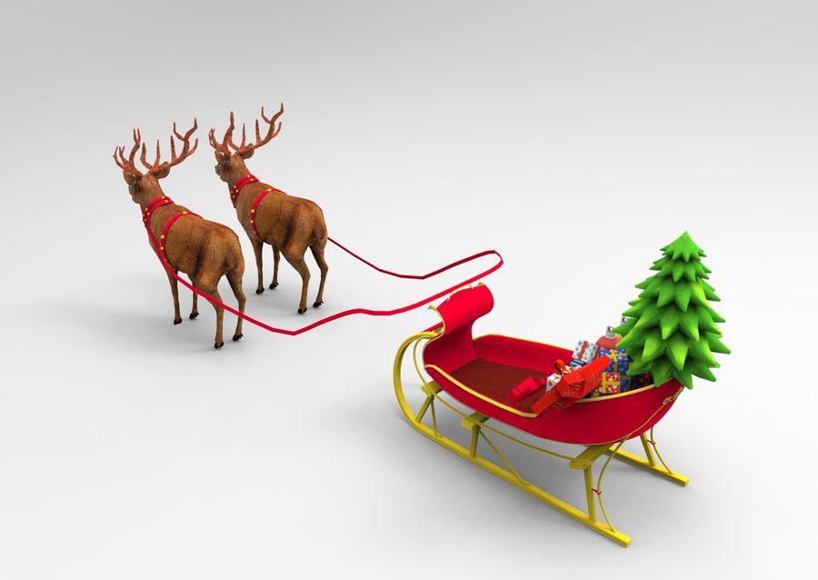 santa Deer Sleigh royalty-free 3d model - Preview no. 8