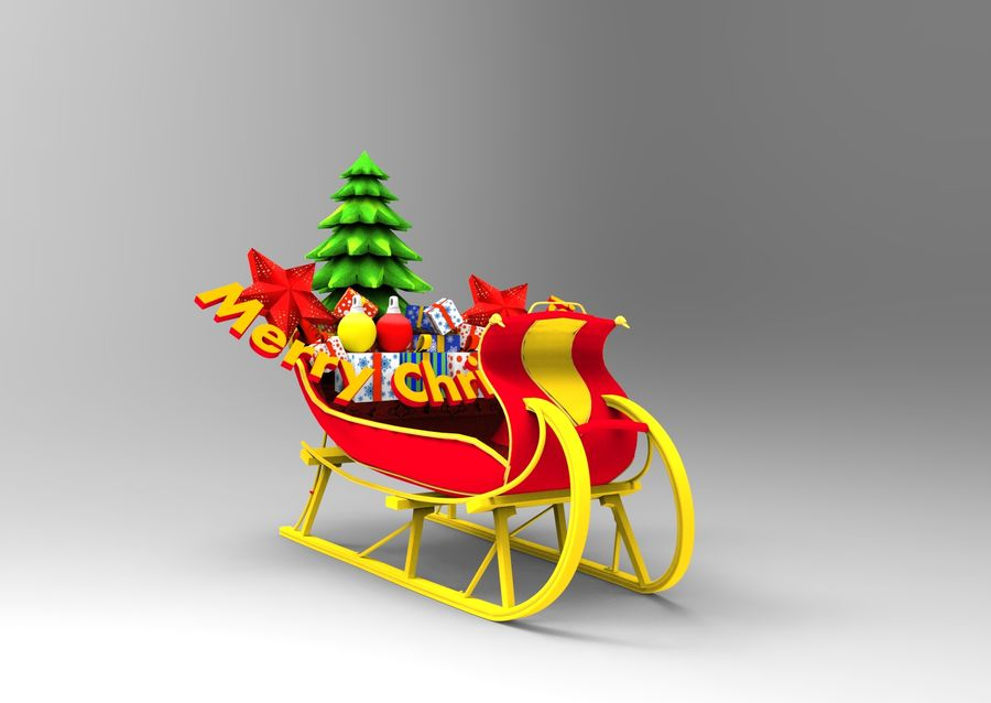 santa Deer Sleigh royalty-free 3d model - Preview no. 2