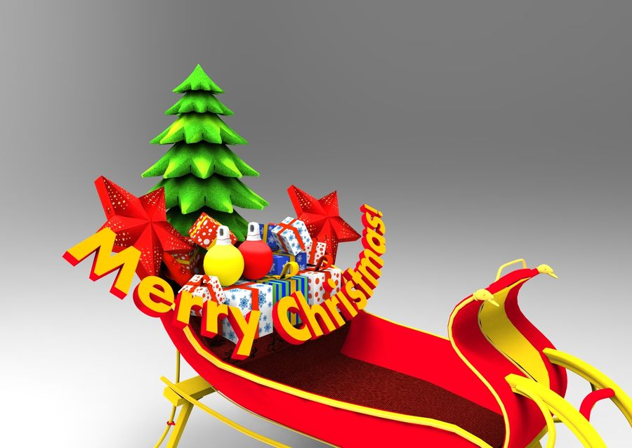 santa Deer Sleigh royalty-free 3d model - Preview no. 5