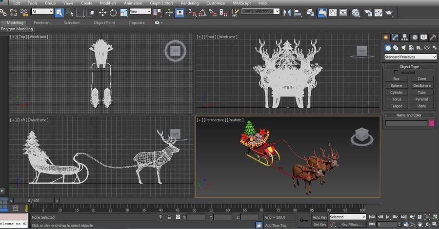 santa Deer Sleigh royalty-free 3d model - Preview no. 19