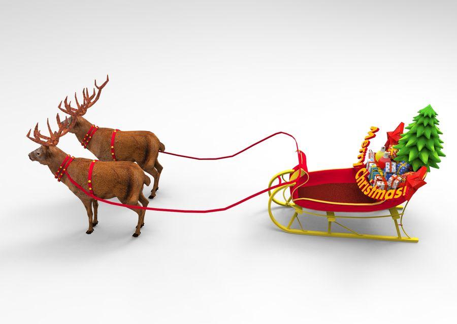 santa Deer Sleigh royalty-free 3d model - Preview no. 7
