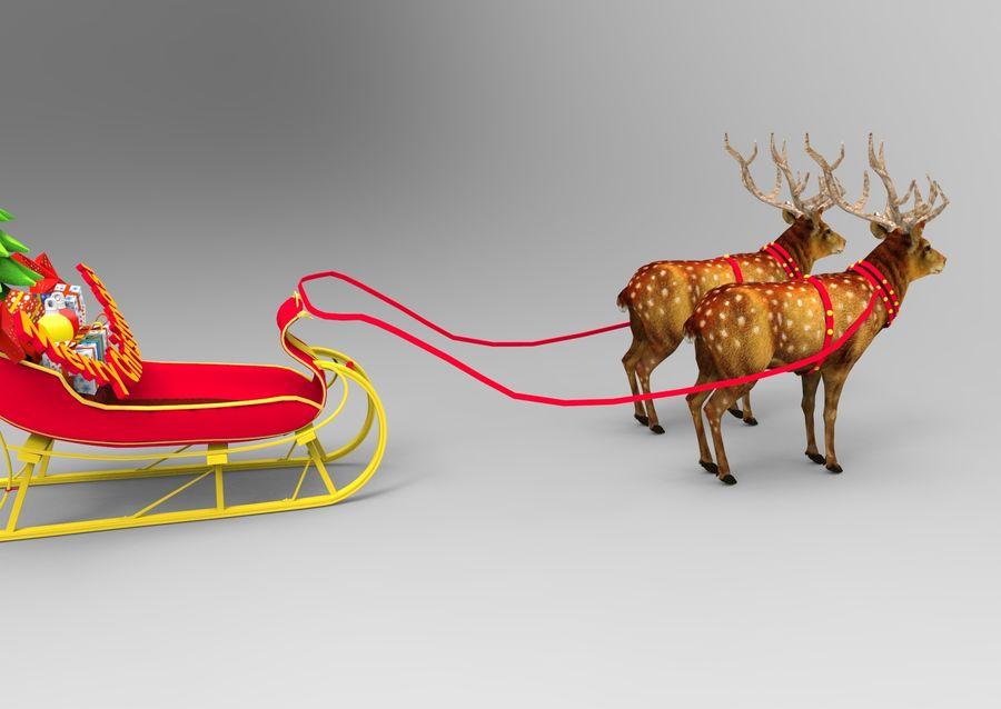 サンタ鹿のそり royalty-free 3d model - Preview no. 9