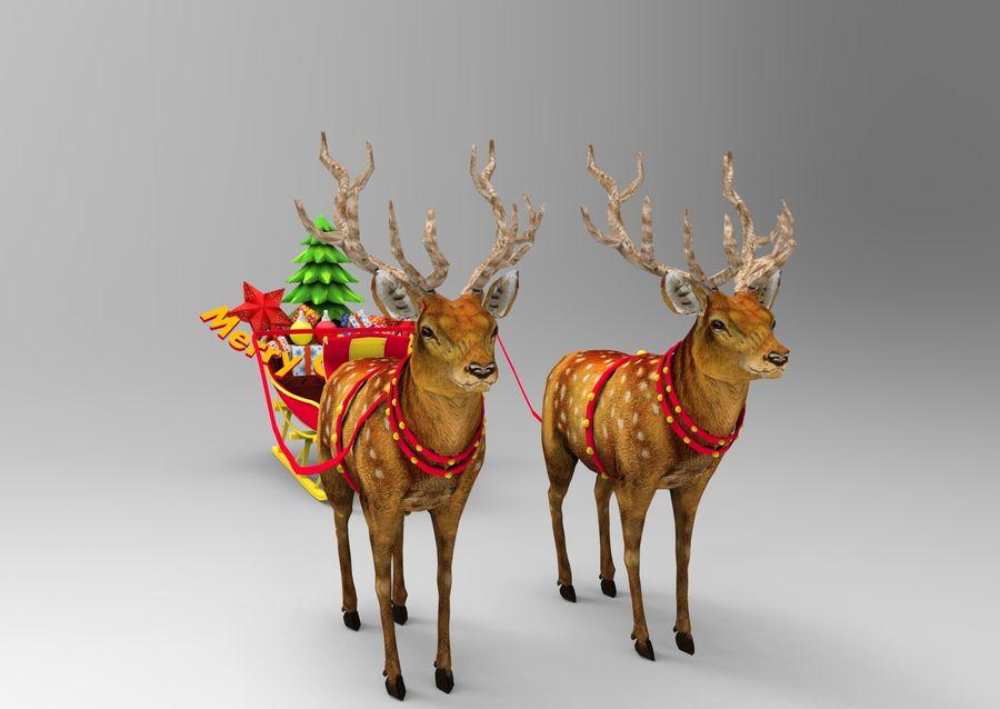 サンタ鹿のそり royalty-free 3d model - Preview no. 2