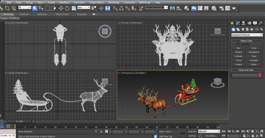 サンタ鹿のそり royalty-free 3d model - Preview no. 31